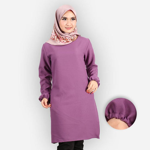 Riyana Curvy Basic Long Blouse (dark purple)