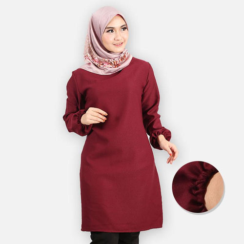 Riyana Basic Long Blouse (dark red)