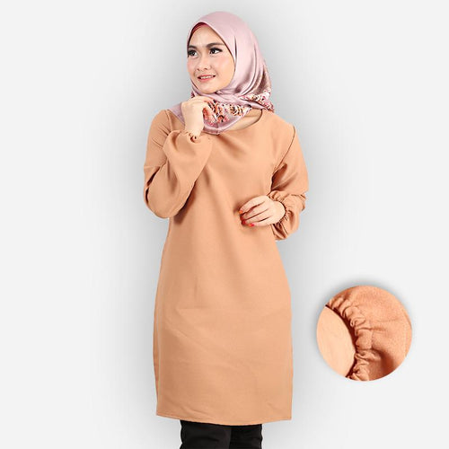Riyana Curvy Basic Long Blouse (khaki)