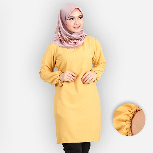 Riyana Curvy Basic Long Blouse (yellow)