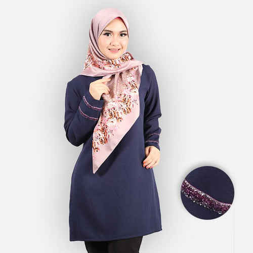 Hasniyah Curvy Basic Long Blouse (dark blue)