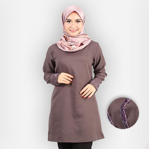 Hasniyah Curvy Basic Long Blouse (dark grey)