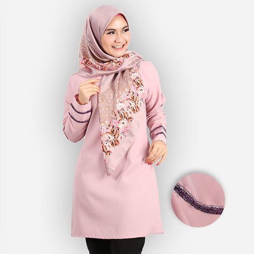 Hasniyah Curvy Basic Long Blouse (pink)