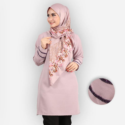 Hasniyah Curvy Basic Long Blouse (purple)