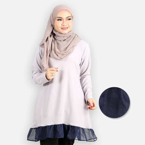 Ghaziyah Curvy Ruffled Blouse (light grey)