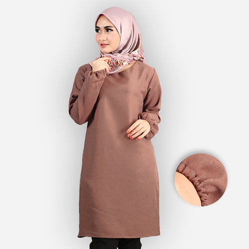 Riyana Curvy Basic Long Blouse (brown)
