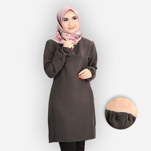 Riyana Curvy Basic Long Blouse (dark grey)