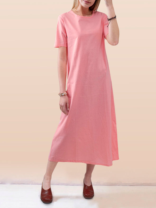 Crew Neck Short Sleeve Dress