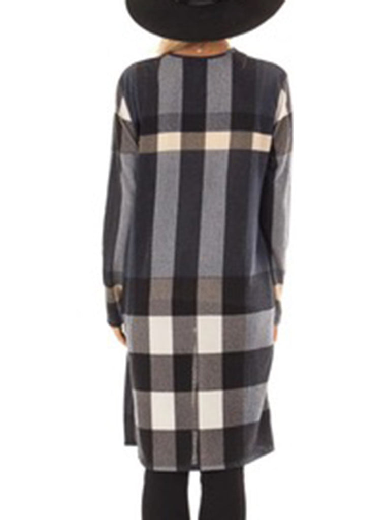 Long Sleeve Paneled Casual Gingham Coat