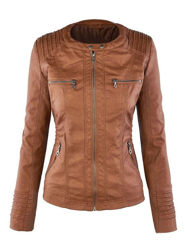 Casual Faux Leather Long Sleeve Outerwear