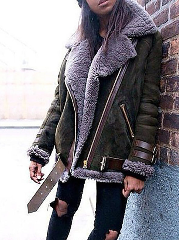 Casual Zipper Long Sleeve Solid Outerwear