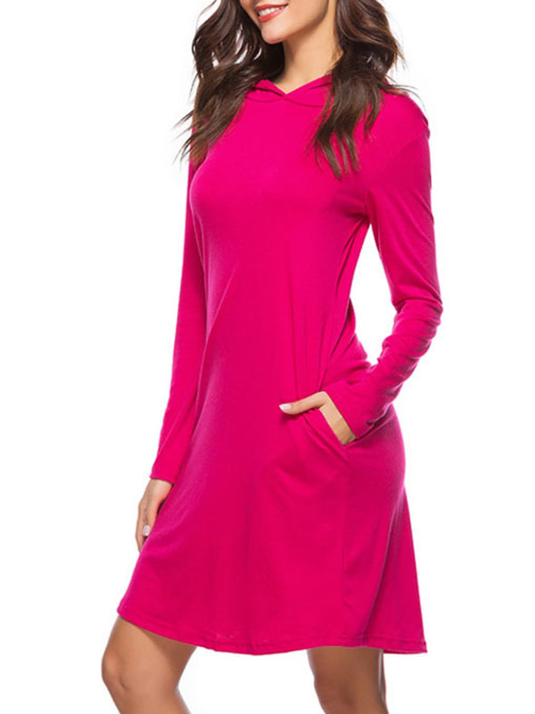 Hoodie Shift Long Sleeve Dress