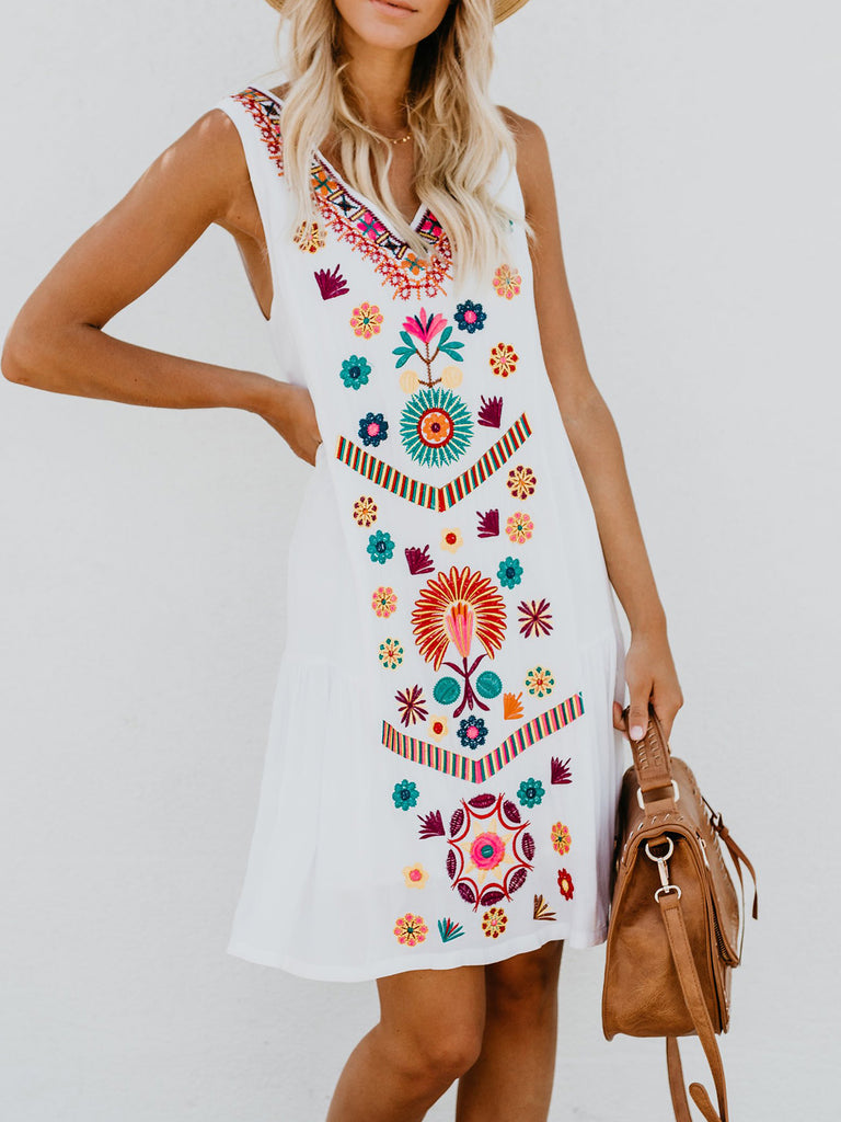 White Floral Casual Sleeveless Dress