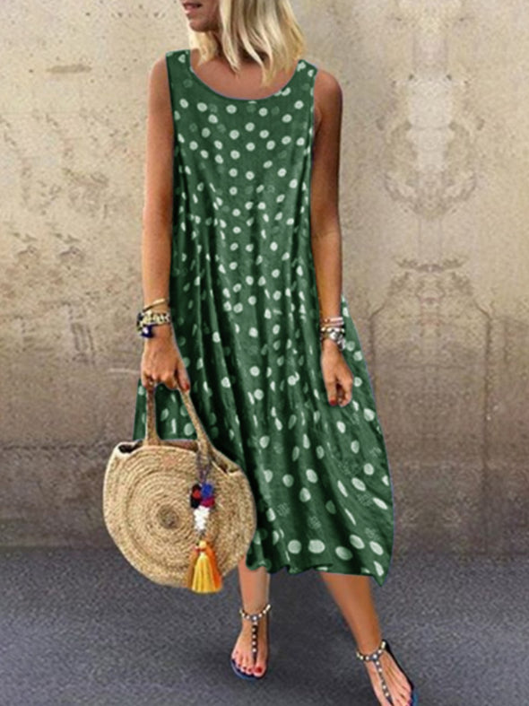 Round Neck Cotton Sleeveless Dress