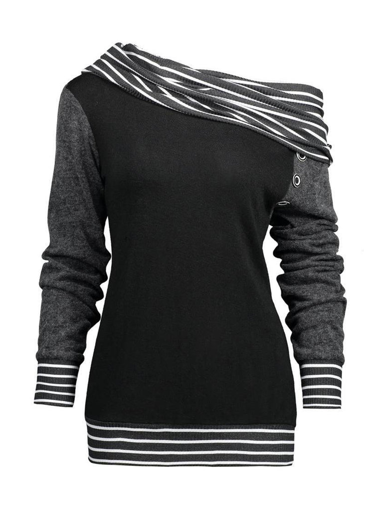 Long Sleeve Eyelet Cotton-Blend Casual Hoodie