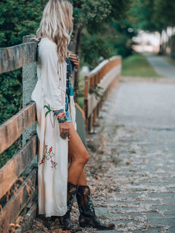 White Floral Boho V Neck Buttoned Dress