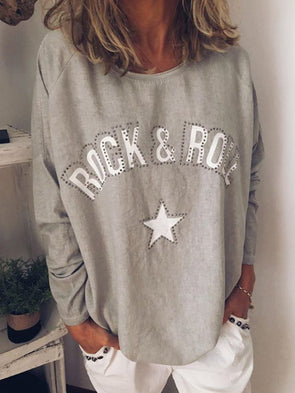 Cotton-Blend Casual Round Neck Long Sleeve Tops
