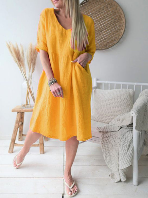 Half Sleeve Vintage Pockets Dress