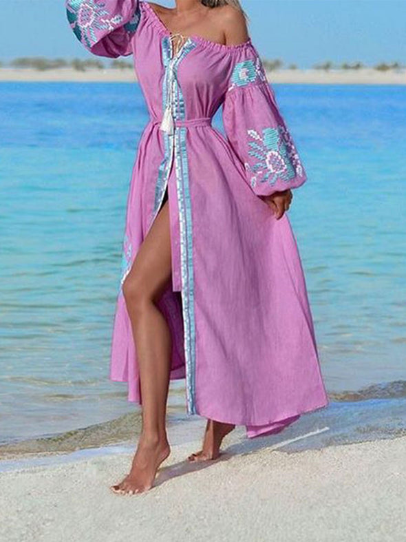 Long Sleeve V Neck Boho Dress