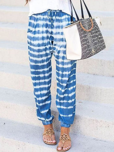 Blue Patchwork Boho Cotton-Blend Pants