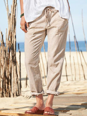 Khaki Cotton-Blend Casual Patchwork Pants