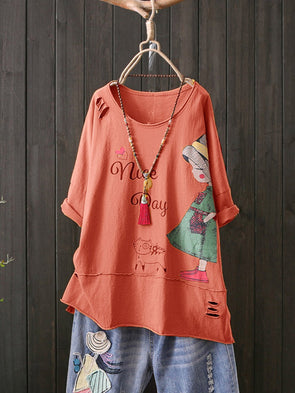 Cotton Casual Short Sleeve Tops