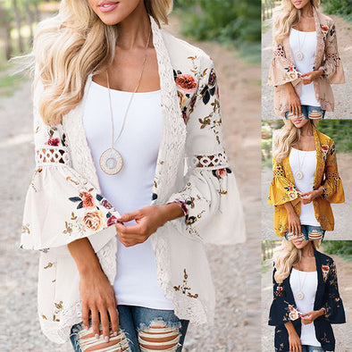 Casual 3/4 Sleeve Paneled Lace Outerwear