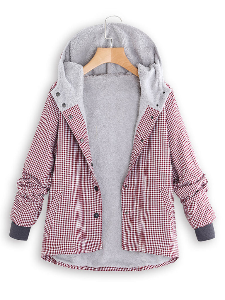 Plaid Printed Long Sleeve Hoodie Coat