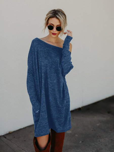 Simple & Basic Long Sleeve Knitwear Dress