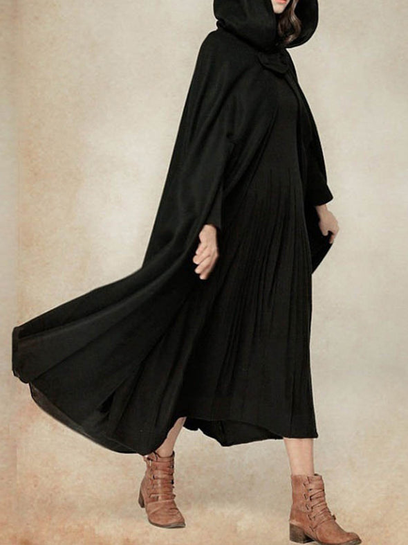 Cotton Elegant Cape Sleeve Solid Outerwear