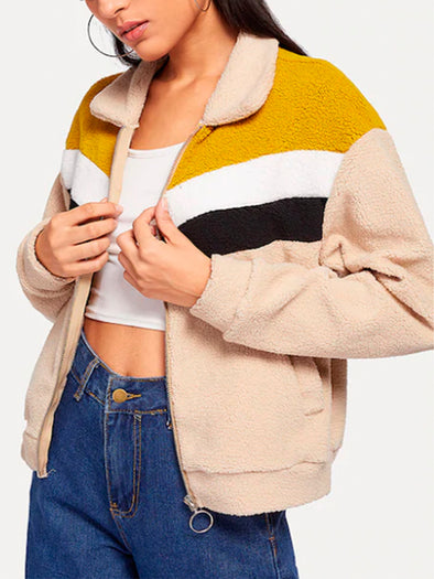 Yellow Cotton Long Sleeve Outerwear