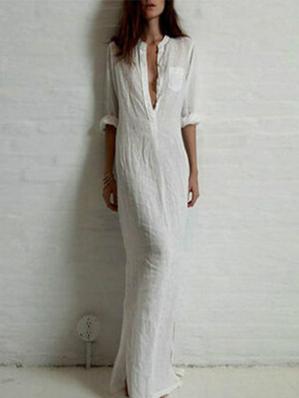 White Deep V cotton hemp dress Dress
