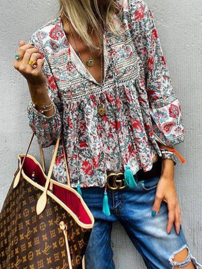 Vintage Long Sleeve Floral Tops