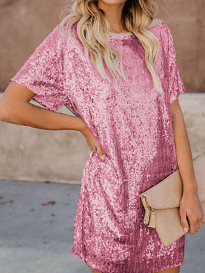 Vintage Solid Short Sleeve Dress