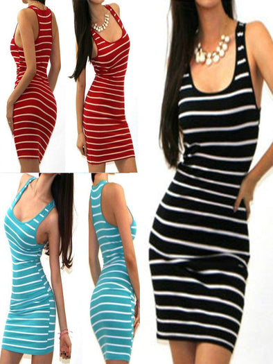 striped sleeveless I-shaped vest Dress