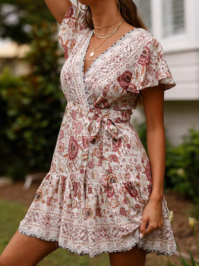 White Printed Short Sleeve Floral Dress