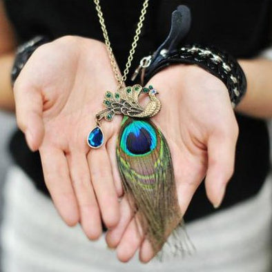 Bohemian Peacock Sweater Necklace