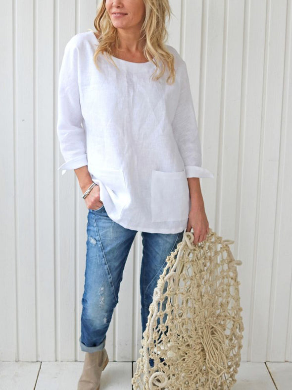 Long Sleeve Casual Pockets Tops
