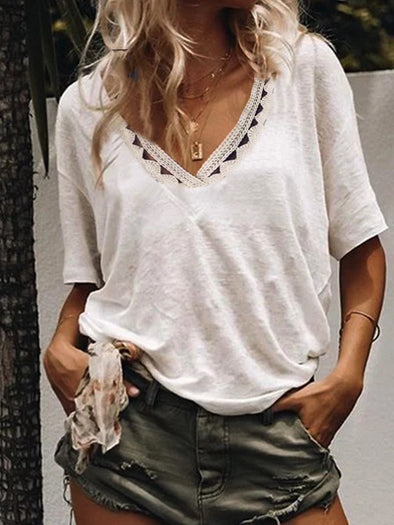 Cotton Short Sleeve Casual Tops