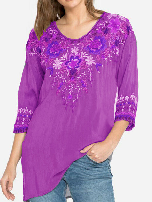 Boho Round Neck Cotton Floral Tops