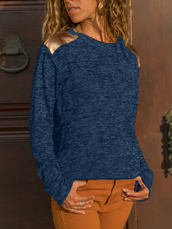 Round Neck Plain Casual Knitwear