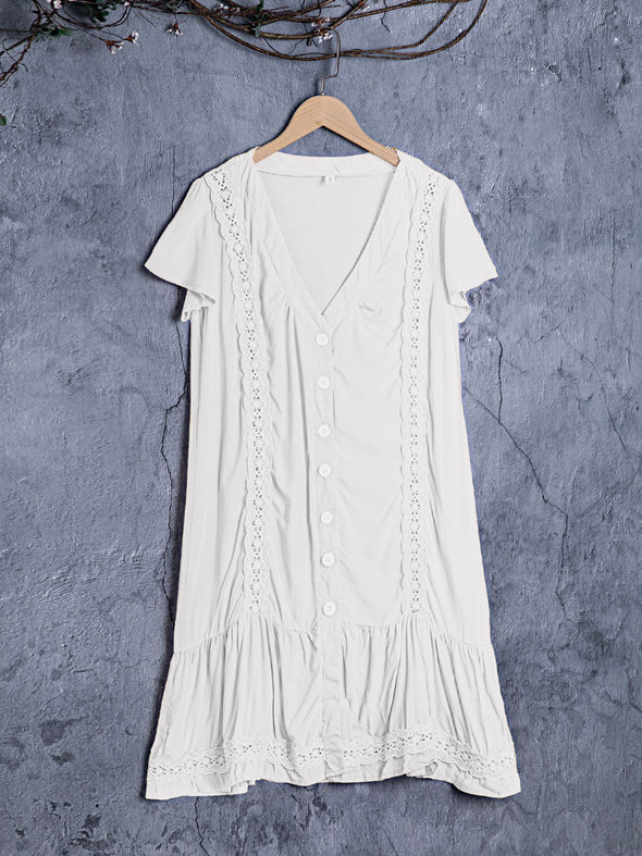 Short Sleeve Buttoned Cotton-Blend Dress