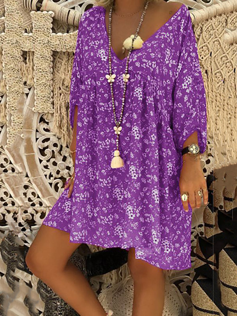 Printed Shift Long Sleeve Floral Dress