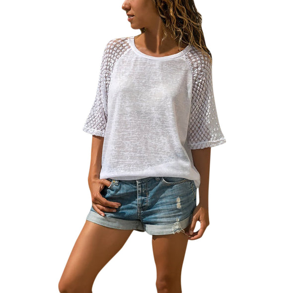 Casual Short Sleeve Crew Neck Tops