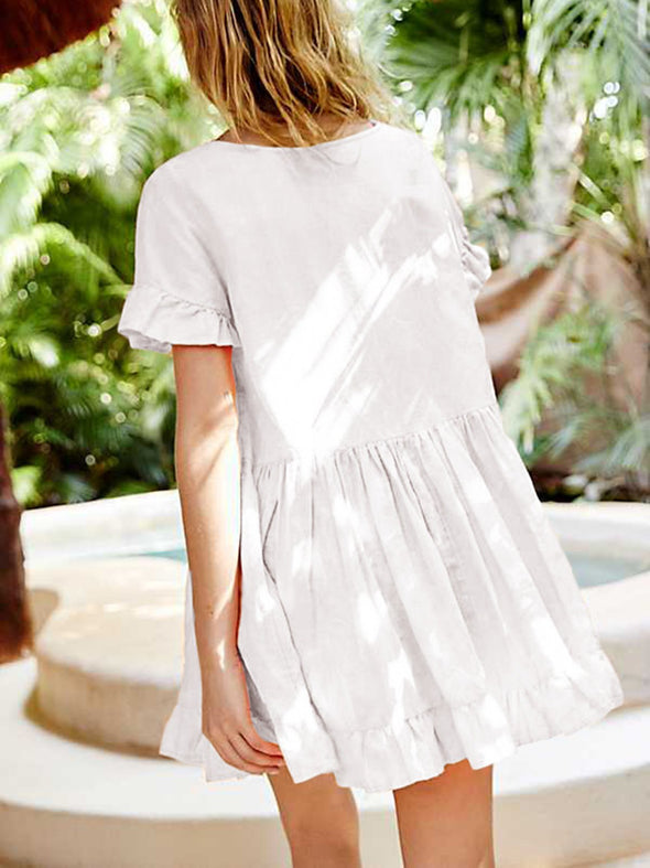 White Cotton Frill Sleeve Shirred Dress