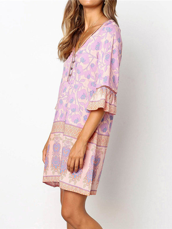 Pink Frill Sleeve Floral Dress