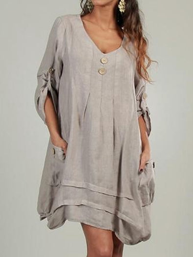 Women Dress Pockets Convertible Sleeves Button-decor Cocoon Dresses