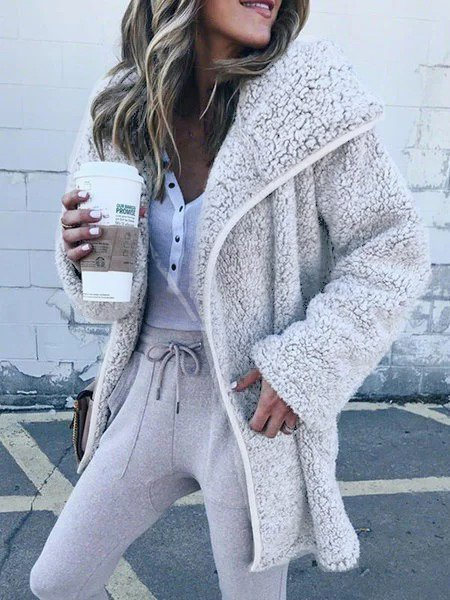 Casual Cashmere Solid Coat