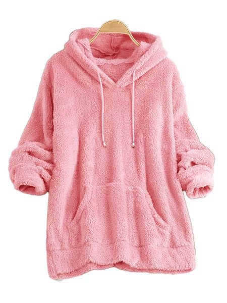 Fluffy Teddy Bear Pocket Hoodie Sweatshirt