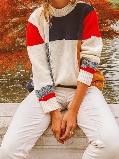 White Crew Neck Long Sleeve Color-Block Knitwear